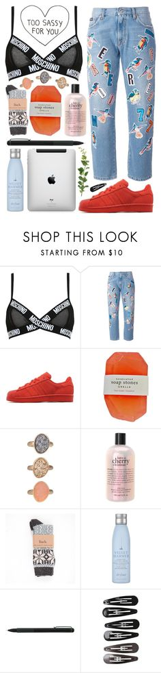 """Untitled #1128"" by noviii ❤ liked on Polyvore featuring Moschino, MSGM, adidas Originals, philosophy, Alpine, Drybar, IDEA International and Clips"
