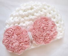 (I want one my size!) Newborn baby girl crochet hat, white with pink flower bow, Spring, Baby Fashion, photo prop. $15.99, via Etsy.