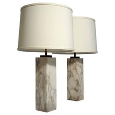 Pair of Marble and Brass Lamps Designed by T.H. Robsjohn-Gibbings for Hansen
