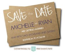 Printable save the dates in a simple style. Completely customizable to your fonts, colors, and styles. Click through for matching invites, RSVPs, direction cards and more.  Or shop our 1000+ designs for all of life's journeys. From weddings to anniversaries, graduations to new babies, if you celebrate it, we can design it! Only at Aesthetic Journeys