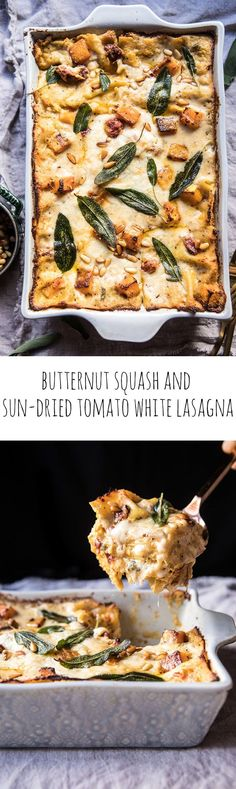 Butternut Squash And Sun-Dried Tomato White Lasagna Hbharvest Healthy Cooking, Cooking Recipes, Pasta Recipes, White Lasagna, Vegetarian Recipes, Healthy Recipes, Easy Dinner Recipes, Fall Recipes, Pasta Dishes
