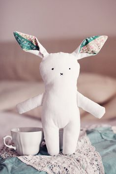 Cute white bunny - handmade animal plush,  kid friendly stuffed animal MADE TO ORDER