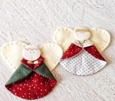 How to Make Christmas Angels with Fabric Patchwork Fabric Christmas Ornaments, Felt Christmas Decorations, Christmas Crafts, Christmas Angels, Handmade Felt, Handmade Ornaments, Christmas Sewing Projects, Fabric Origami, Ornament Tutorial
