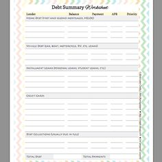 Free Debt Summary Worksheet for Organizing and Prioritizing Your Debts: Debt Summary Worksheet for Organizing and Prioritzing