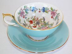 Aynsley Pembroke Teacup Cup Saucer Set, Floral with Hummingbird Motif, Vintage in Mint Condition, Light Blue, Gorgeous.