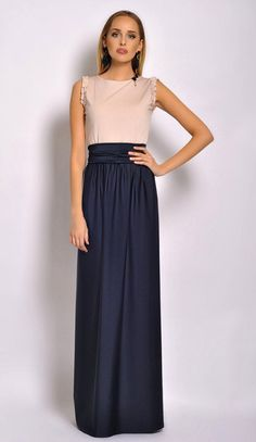 Maxi Dress Sleeveless Two Color Ivory Navy Blue by DesirVale