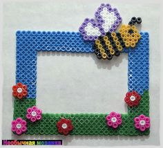 Spring photo frame perler beads