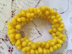 1930's yellow beaded bracelet by VINTAGEwithaSMILE on Etsy