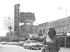 Fremont St, Las Vegas, c. 1954. Golden Nugget occupies this block today. Photo via o50v