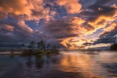 Norwegia, Ringerike, Jezioro, Drzewa, Chmury, Zachód słońca