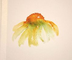 Wet-in-wet painting: step by step tutorial for painting coneflowers