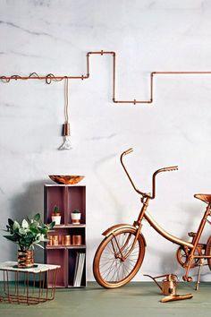 einrichtungsideen wohnen röhre dekoration wanddeko wandgestaltung kupfer
