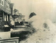 1954 - Hurricane Carol lashed New England and coastal areas of New York and New Jersey, leaving 68 people dead. This scene is at New London's Ocean Beach.
