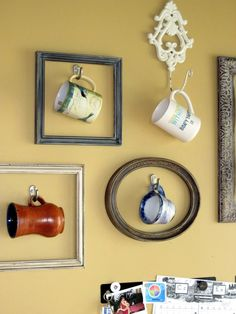 Coffee cup gallery wall.  This is nice for the person who has a lot of cute coffee cups but no way you can use them all.