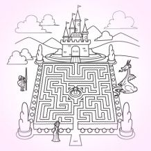 Castle Garden Maze & Coloring Page