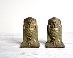 Vintage Owl Bookends Cast Iron Art Nouveau Owl by HavenVintage
