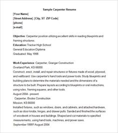 Carpenter Resume Templates Endearing 11 Carpenter Resume Templates  Free Printable Word & Pdf  Sample .
