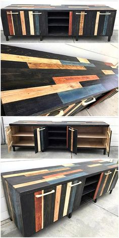 Wood pallet media console crafted elegantly and have enough storage options. It is offered with combination of four cabinets which helps you in keeping your items out of harm. This craft is designed marvelously. Its black color with multi colored lines is making it more unique. #pallets #woodpallet #palletfurniture #palletproject #palletideas #recycle #recycledpallet #reclaimed #repurposed #reused #restore #upcycle #diy #palletart #pallet #recycling #upcycling #refurnish #recycled #woodwork
