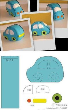 cute felt car - great to go with a road in my quiet book Sewing Toys, Sewing Crafts, Sewing Projects, Fabric Toys, Felt Fabric, Baby Crafts, Felt Crafts, Sewing For Kids, Diy For Kids
