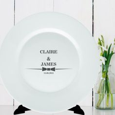 Personalised Plate Bow Tie Design - Bride and Groom