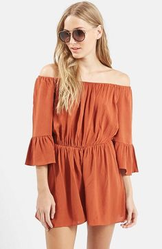 Topshop Crinkly Off the Shoulder Romper (Regular & Petite) available at #Nordstrom