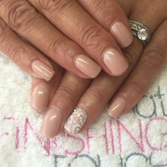 CND Shellac in Bare Chemise with Swarovski crystals and stamping