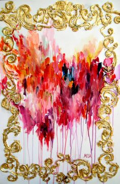 Red, Pink, Orange and Gold Abstract Painting via Etsy