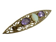 Vintage Opal & Amethyst 9k Gold Brooch By C&L - 4.0 Grams - Gold Rocks Jewellery And Silverware Rock Jewelry, Jewellery, Opal, Amethyst, Gold Brooches, Makers Mark, Rocks, Vintage, Jewels