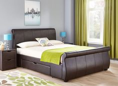 Our Lucia faux leather bed is the ultimate in luxury.