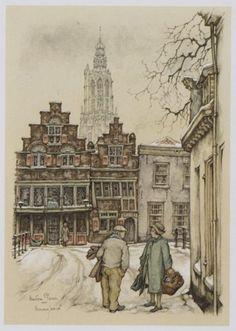 Romantische voorstelling van 't Havik in de sneeuw, gezien vanuit de Bloemendalse binnenpoort. Vanaf links Havik 35, 33 en 31. | if then is now