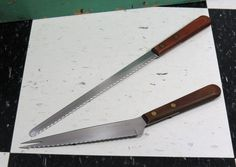2 Vintage Ekco Viscount Specialty Knives . Angled Carving Knife & Serrated Bread Ham Slicer . Stainless Steel . USA . Mid Century by 13thStreetEmporium on Etsy