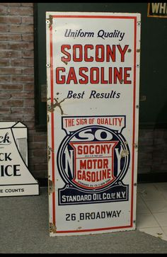 Socony Gasoline Porcelain Sign