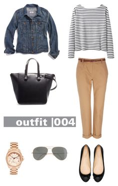 """Outfit 004 from the set ""38 item Capsule Wardrobe"""" by designismymuse ❤ liked on Polyvore featuring Zara, Wallis, Madewell, Wood Wood, Ray-Ban and Michael Kors"