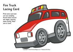 Fire truck lacing card