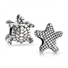 Starfish Turtle Sea Life Bead Set Fits Pandora Charms 925 Silver