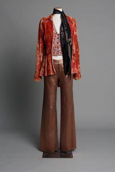 Crushed velvet jacket with blouse & pants 1970s LABEL: Unlabelled Tigermoth (jacket), Hullabaloo (blouse), Biba from London (pants)