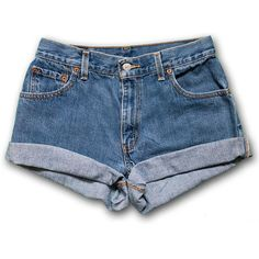 Vintage 90s Levi's medium/dark Blue Wash High Waisted Rise Cut Offs... ($49) ❤ liked on Polyvore featuring shorts, bottoms, pants, blue, black, women's clothing, high waisted shorts, high waisted cut off shorts, high-waisted jean shorts and vintage high waisted shorts