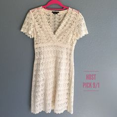 "🎉Dress Sale🎉BCBG MaxAzria Crochet Dress 🎉Host Pick 8/9🎉So pretty and feminine! BCBG Max Azria cream crochet cross front dress with short sleeves. Features side zipper and empire waist - dress has poly knit under slip in cream. length from shoulder seam to hem is 37.5"", bust from under arm pit seam to seam is 15.5"". waist flat across is 13.75"", hips 16.75"". Excellent condition. 87% cotton 13% rayon for dress, liner is 85% poly 15%. ** final reduction - price firm** last photo is on my…"