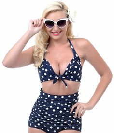 Retro Pinup Rockabilly Vintage Figure Flattering High Waist Push Up Sexy 2 Bathing Suit Several Style Options Available S-4XL Plus Size - Loluxe - 7