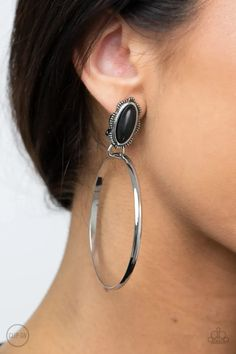 At Long Last Lasso Black Paparazzi Accessories Clip-On Earrings