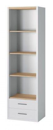 Oslo - Knižnica, 2x zásuvka, 4x polica (dub sonoma/biela)