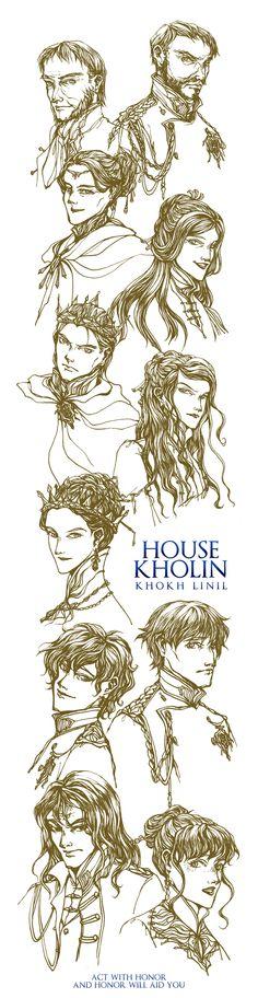 Stormlight Archive/ Inktober / Day 1-6 House Kholin / By BotanicaXu / The characters above are: Gavilar (deceased), Dalinar, Navani, Dalinar's wife/Shshshsh… (deceased), Elhokar, Jasnah, Aesudan, Adolin, Renarin, Kaladin as captain of the guard, Shallan as Adolin's betrothed.