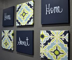 Home Sweet Home Navy & Lime Green Wall Art Pack of 6 Canvas Wall Hanging Painting Fabric Navy Decor Modern Chic Wall Decor Living Room Art by GoldenPaisley on Etsy https://www.etsy.com/listing/212621569/home-sweet-home-navy-lime-green-wall-art