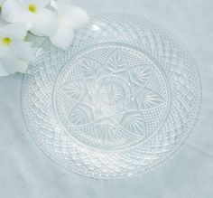 Vintage Clear Glass Starburst Plate - 8 Inch