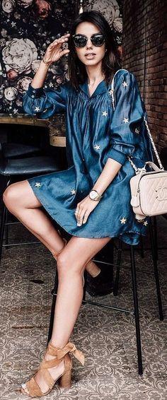 #summer #trends #outfits | Star Print Little Blue Dress