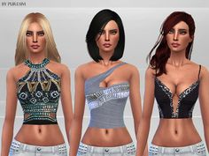 The Sims Resource: Embellished Tops by PureSim • Sims 4 Downloads