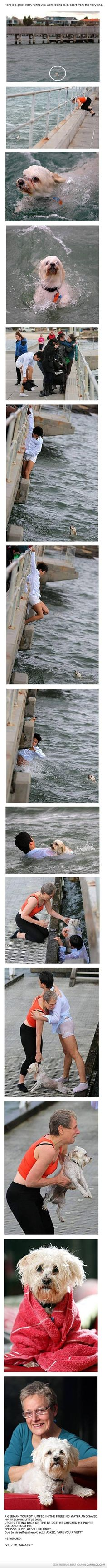 Saving a dog... the story at the end cracks me up.