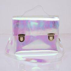 Bolsa Holográfica com Fecho Cores Rosa , Azul e Transparente Bolsas Divertidas