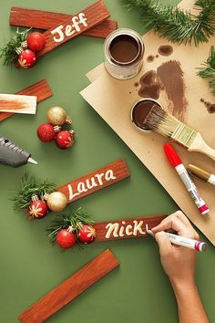 3 easy steps to making an elegant place card for your Christmas table, or personalized ornaments for those hard to find names . Here's the list of Home Depot materials you'll need to serve up a personalized welcome for holiday guests! Christmas Place Cards, Christmas Names, Rustic Christmas, All Things Christmas, Christmas Holidays, Christmas Ornaments, Christmas Projects, Holiday Crafts, Christmas Ideas