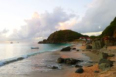 St. Barts' Shell Beach at sunset.